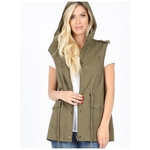 Utility military vest hooded olive S, M, L NWT